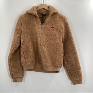 Topshop- Tan Teddy Pullover Sweater With Heart